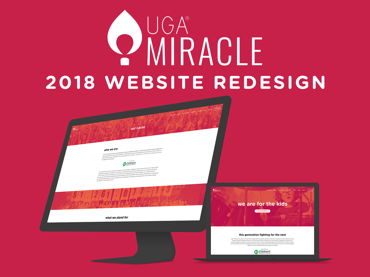 Miracle website screen mockups