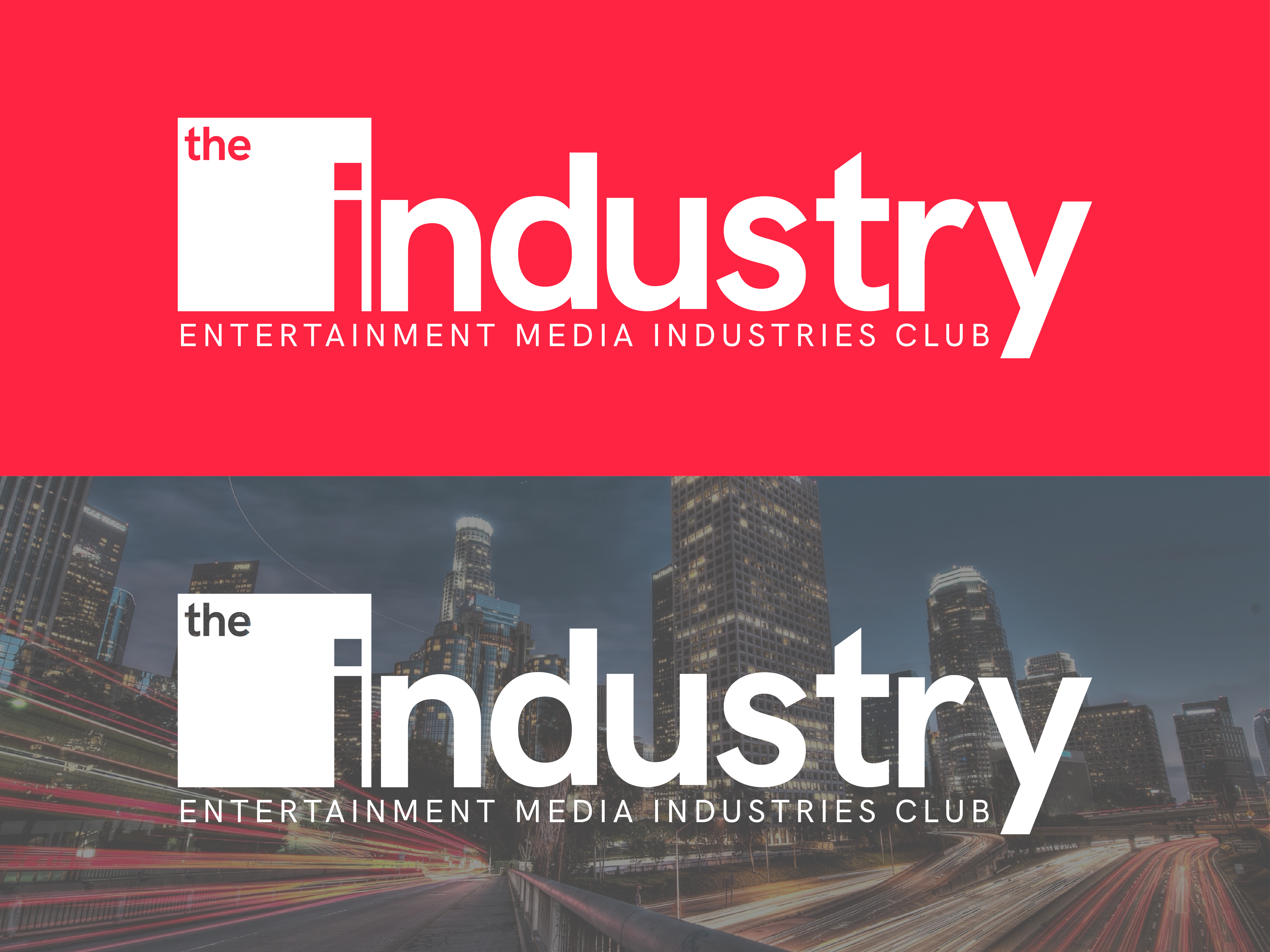 The Industry wordmark on two backgrounds